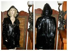 Vtg XL Shiny Black Vinyl Raincoat Hooded PVC Rain Jacket Totes Rainworks Slicker