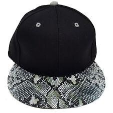 SNAKE SKIN PLAIN (BLACK/GREY) COTTON SNAPBACK CAP