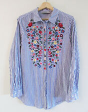 Just Jeans Size 8 Blue White Striped Cotton Collared Shirt Floral Embroidered