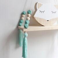 Nordic Style Wooden Hanging Tassel Cute Bead Storage Wall Shelf Bedroom For Kids