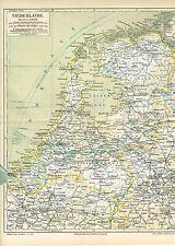 Karte der NIEDERLANDE / HOLLAND 1888 Original-Graphik