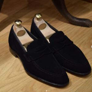 Handmade men black loafer suede shoes leather dress shoes moccasin slip on shoes