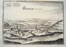 Rothenburg  Saale  echter  alter Merian Kupferstich Erstausgabe 1643