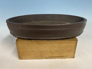 "Oval Dark Brown Clay Tokoname Keizan Bonsai Tree Pot 16 1/4"""