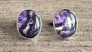 Solid Silver Derbyshire Blue John Petite Oval Stud Earrings J2673