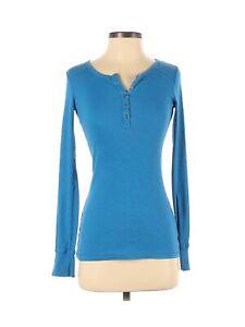 Mossimo Supply Co. Women Blue Long Sleeve Henley XS