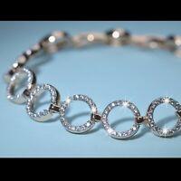 18k yellow gold gf made with SWAROVSKI crystal round circle tennis bracelet
