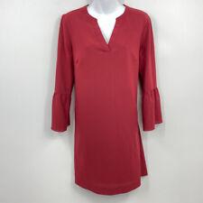 J. Crew Factory Shift Dress 8 Bell Sleeve Split V Neck Polyester Lined Solid Red