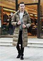 Mens Down Coat Hooded Puffer Jacket Trench Outwear Winter Full Length Long Parka