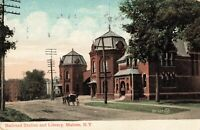 Postcard Railroad Station and Library Malone New York