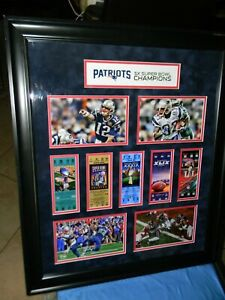 """New England Patriots Framed 23x27"""" 5-Time 5X SB Champions Photo & Ticket Collage"""