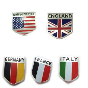 1x Britain/Italy/France/Germany Flag Logo Metal Car Motor Sticker Tail Emblem