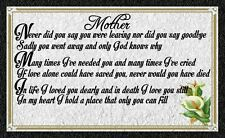 (Mothers Memorial) WALL DECOR,DISTRESSED,RUSTIC,PRIMITIVE,HARD WOOD,SIGN, PLAQUE