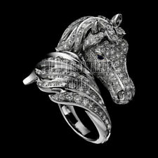 Antique Finish 4.21cts Rose Cut Diamond Sapphire Studded Horse Head Jewelry Ring