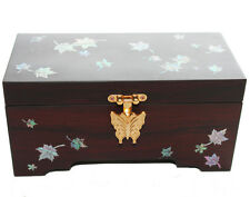 Wooden jewellery box with mirror fitted, mother of pearl inlaid. oriental Maple