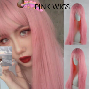 Women Pink Wig Cosplay Long Straight Hair Full Wigs with Bangs Synthetic Dress
