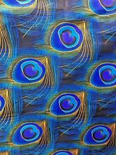 BLUE GOLD BLACK MULTICOLOR African Wax Print 100% Cotton Fabric (44 in.) BTY