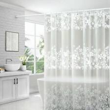 PEVA Waterproof Bathroom Shower Curtain White Floral Lace Fabric Liner Clear CO