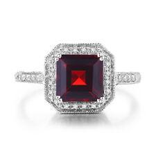 8x8mm Octagon Cut 3.6ct Garnet SI2 Diamonds Vintage Wedding Ring 18K White Gold