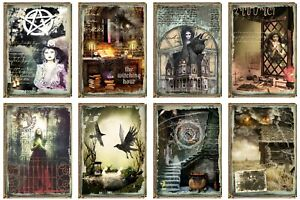 GOTHIC WITCH  - 2 x A4 SHEETS OF CARD TOPPERS -  SCRAPBOOKING - 250GSM