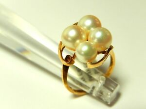 14k Yellow Gold Four Pearl AAA Quality Cluster Ring Size 6 3/4
