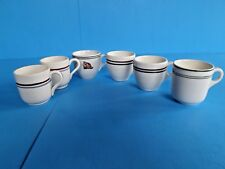 6-VINTAGE MED-HEAVY COFFEE CUPS~2 MARKED 1949 WC/ A~ ALL STRIPES~RESTAURANT WARE