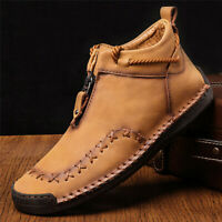 Fashion Men's Leather Casual Shoes Hand Stitching Loafers Slip on Moccasins