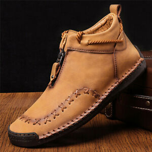 Men's Fashion Leather Casual Shoes Hand Stitching Loafers Slip On Moccasins