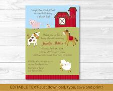 Farm Animals Printable Baby Shower Invitation Editable PDF