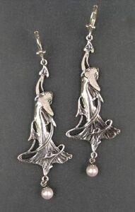 9901056 925er Silber Jugendstil Ohrringe Mädchen nach Mucha Perle 2,4x6,2cm