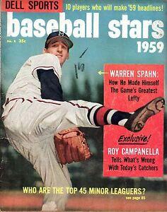 1959 Dell Sports Baseball Stars Magazine, Warren Spahn, Milwaukee Braves ~ Poor