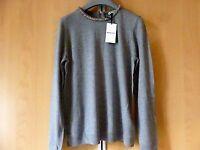 BNWT Whistles Embellished Neck Slim Knit Jumper UK10 Grey rrp£125