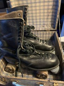 Vintage BETTY LYTLE HYDE Chicago Roller Skates BLACK Mens Sz 10 With Case