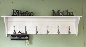 Coat Rack Wall Shelf With Hooks Wood White Wall Hanging with Satin Chrome Hooks