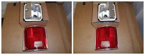 CHEVROLET GMC PICKUP TRUCK TAIL LIGHT LENS LH RH SET w/ CHROME TRIM LEFT RIGHT