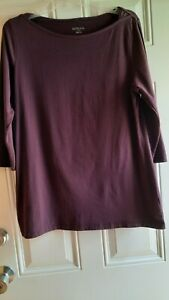 MERONA Knit Tunic - M/L - Deep Plum, Bateau Neck, 3/4 Sleeves, Straight Hem