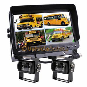"""9"""" Monitor HD 12V/24V 2x CCD Reversing Camera 4PIN System For Truck Caravan"""