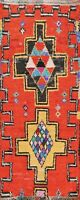 Tribal Geometric Semi-Antique Orange Moroccan Hand-knotted Wool Runner Rug 3'x7'