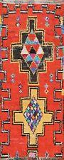 Tribal Geometric Semi-Antique Orange Moroccan Hand-knotted Wool Runner Rug 3'x7'