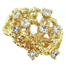 Eight Small CZ Stones Tree 18kt Gold EP Ladies Ring Size 10
