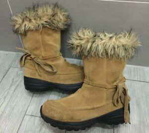 LADIES SOREL CHESTNUT / TAN SUEDE LEATHER NORTHERN LITE TALL SNOW BOOTS, UK 8/41