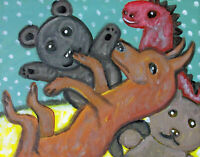 MINIATURE PINSCHER Getting Comfy Stuffed Animals Art Print 8x10 Dog Collectible