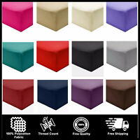 Luxury 100% Polycotton Percale Fitted Sheets Flat Sheet 200TC Single Double King