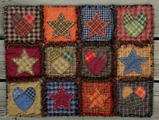 RAG QUILT Primitive Homespun Table Mat Scrappy NEW!  Handmade in Oregon!