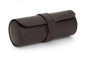 Wolf Blake Watch Roll Brown Three Wristwatch Storage Leather Luxury Holder Case