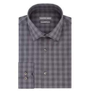 GEOFFREY BEENE Size L 16 - 16 1/2 36/37 Regular FIT Gingham Plaid Gray Shirt NWT