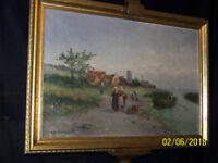 R. Van Velden Listed Antique Dutch Impressionist Original Oil Landscape