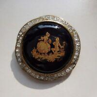 Broche Limoges CASTEL plaqué or porcelaine saphir bijou Renaissance France N4070