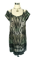 STUSSY Tunic Mini Dress - Black/Grey Off Shoulder Abstract Animal Print Boho- 10