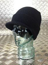 Genuine US Army Black Peak Jeep Hat / Watch Cap 100% Wool - NEW